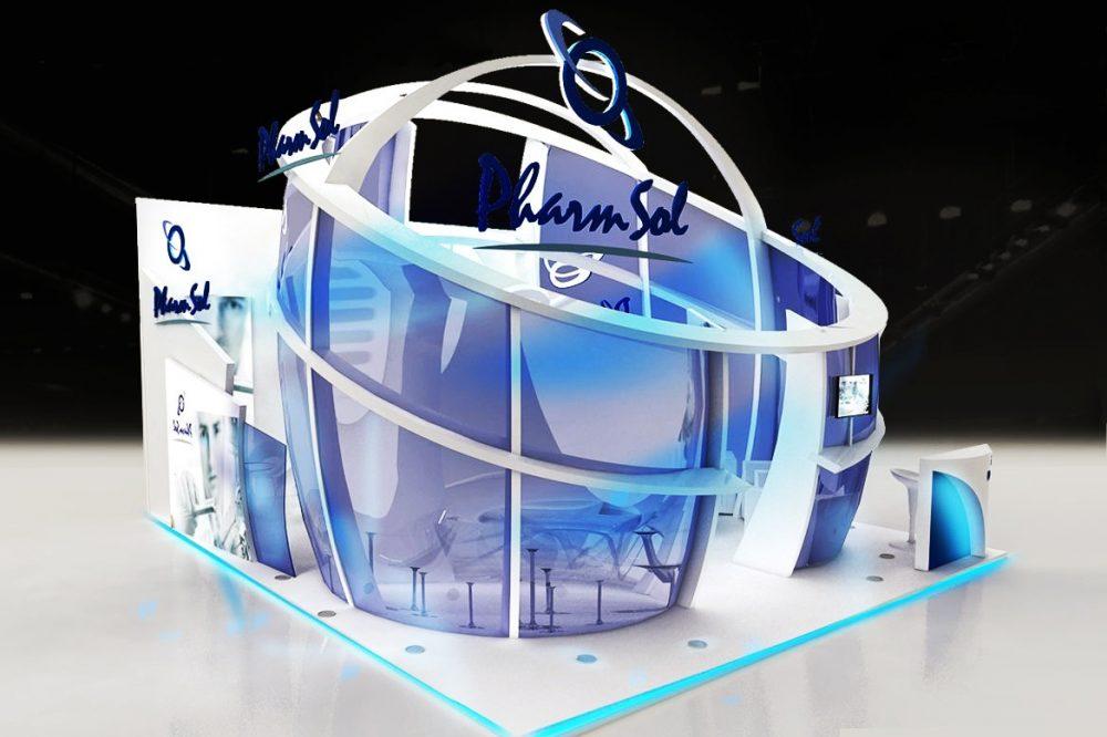 Diseño de stand para ferias, , stands a medida, stand modular, eventos feriales, stand personalizado, diseño industrial, Europa, España, Marketing Ferial, Publicidad Exterior, arquitectura espacios efímeros, rotulación, pharm Sol